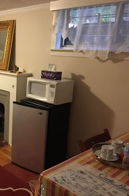 Kitchenette with fridge and microwave