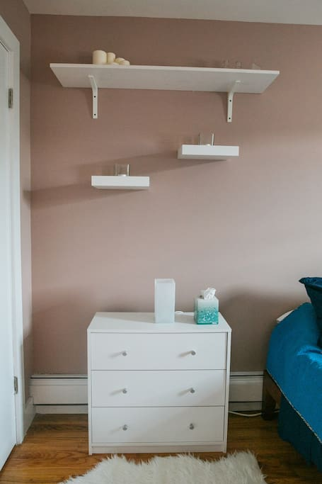 Enjoy lots of storage space including a dresser and full closet.