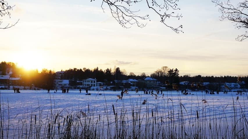 Långsjö during winter time for ice skating lovers
