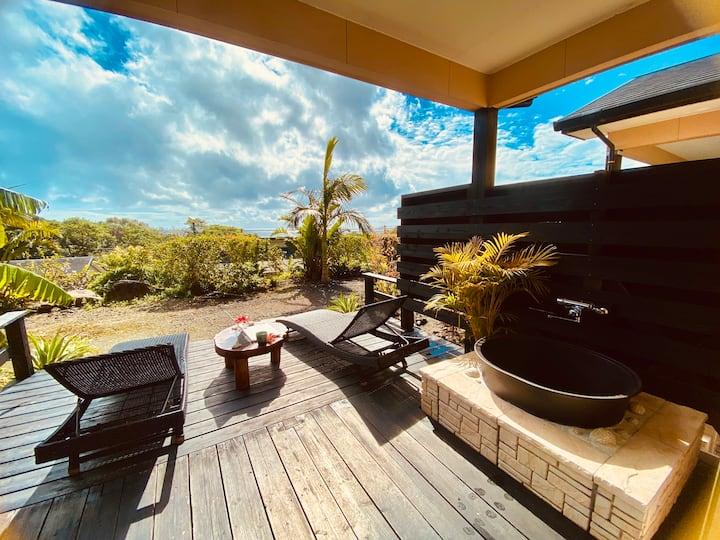 ●海が見える部屋付き★露天風呂+リゾートチェア付大型ウッドデッキ★ コテージ スタンダード1