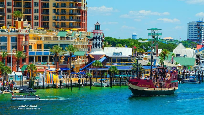 Destin Harbor (only a mile from Mojo) has an endless variety of boating, sailing, and cruising options.  Booze cruises; dolphin cruises;  party boats and even a pirate ship cruise for the little buccaneers!