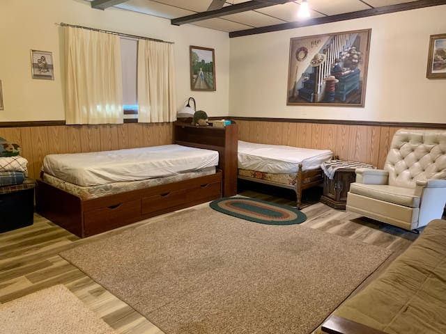 Bedroom 4 - back room single beds plus futon