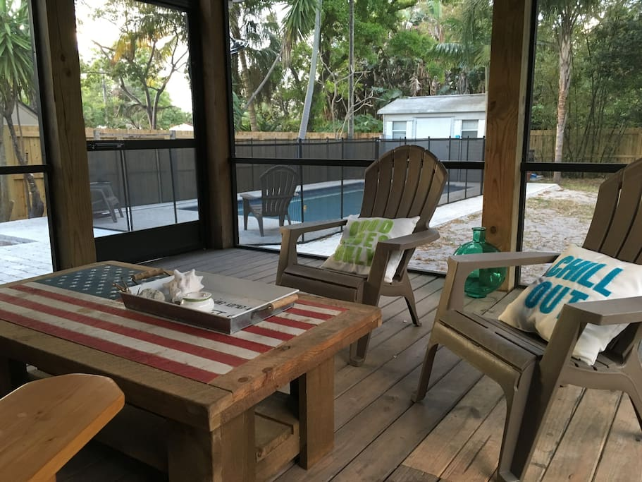 Outside wooden screened deck