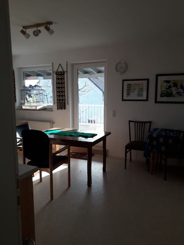 Von der Küche aus Zugang zu einem grossen, überdachten Balkon