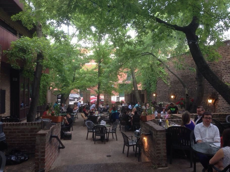 Moody's Pub around the corner has delicious burgers and a great beer garden