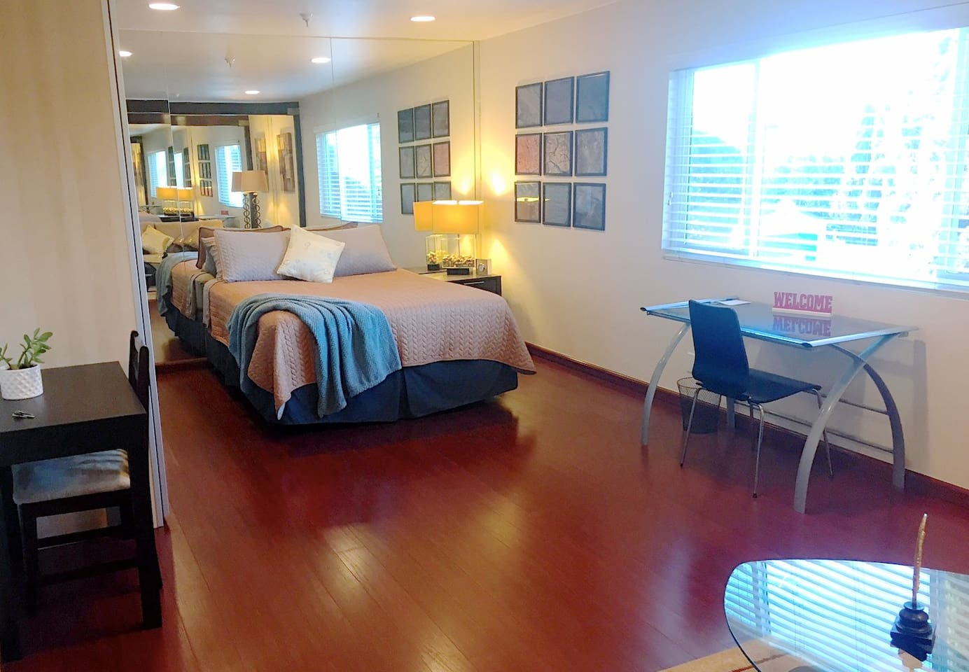 Enjoy the space of this HUGE bedroom. It will fit all your belongings and will leave some room for a yoga practice!