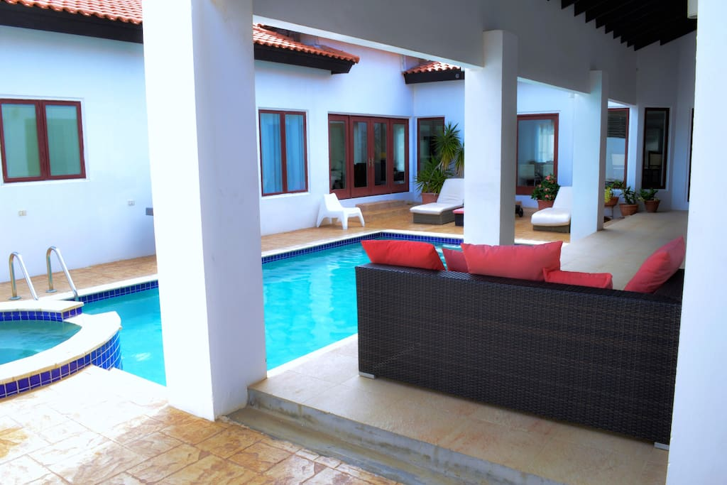 lots of seating area by the pool