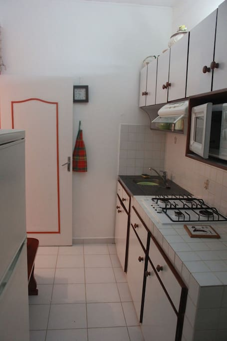 Cuisine avec réfrigérateur, micro-onde, mini four et plaque de cuisson.