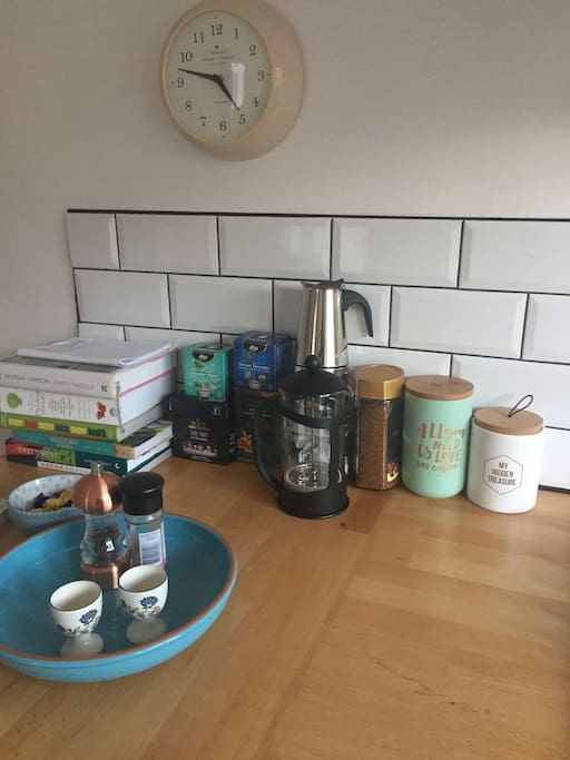 Good selection of herbal teas &  espresso to enjoy throughout your stay