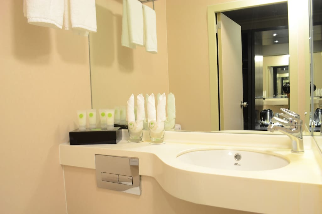 Each room has its own bathroom with towels and supplies like dental kit, shampoo-conditioner, soap vanity kit, etc.