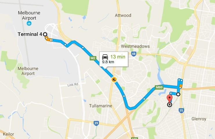 Route to Melbourne International Airport