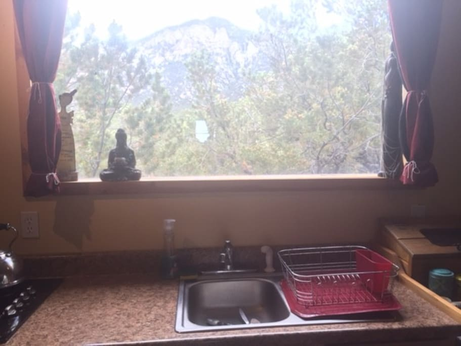 And this is the rest of the view out the kitchen - like living in a tree house!