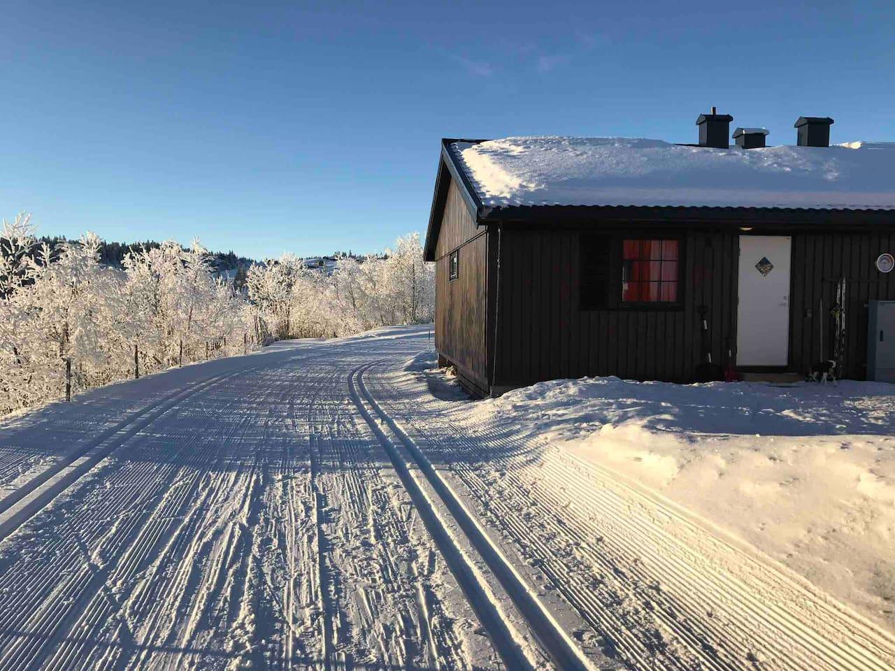 Hytteveggen og skisporet.  Kommer ikke nærmere skisporet enn dette! Ski through :-)