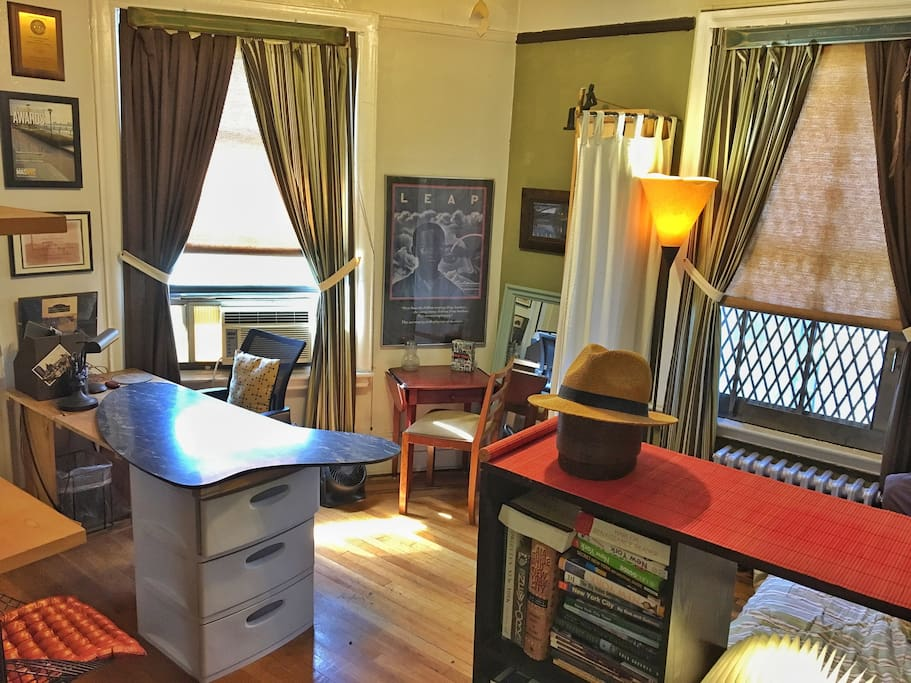 Private guest room: bright southerly exposure, desk, drawers, closet.