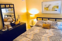 This cozy bedroom is perfect for two guests who are ready for a great night's sleep after exploring the city.