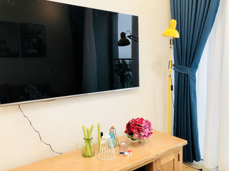 Cute corner of Living room with 58 inches Panasonic TV (Cable TV package)