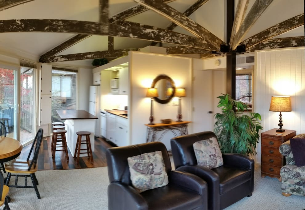 A labor of love, we hand-scraped years of paint off of the exposed beams which gives our home a rustic/artistic flair.
