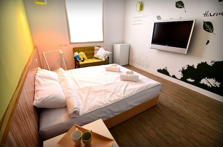 葉子。宿 Y2 童趣風格雙人房(帶露台)讓您在旅行中也能有徹底放鬆的舒適空間)