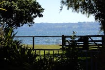 View to Lake Rotorua from sunny deck.