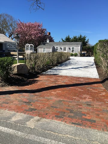White Marble Driveway To Guest House