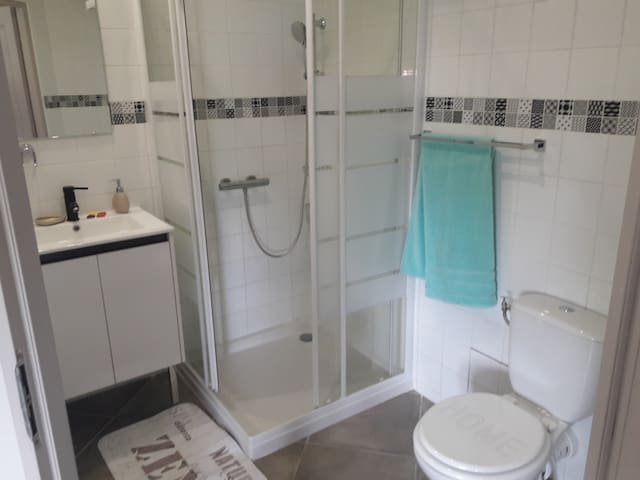 Salle de bain: 1 vasque, 1 douche 90×90 (espace confortable) et 1 toilette.