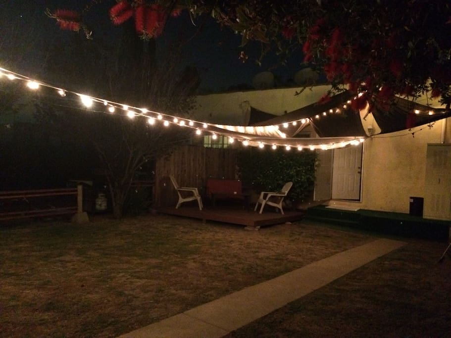 Backyard bubble lights at night