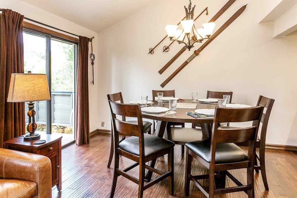 """Expand this table to a 65"""" round to make it roomier for you and your guests."""