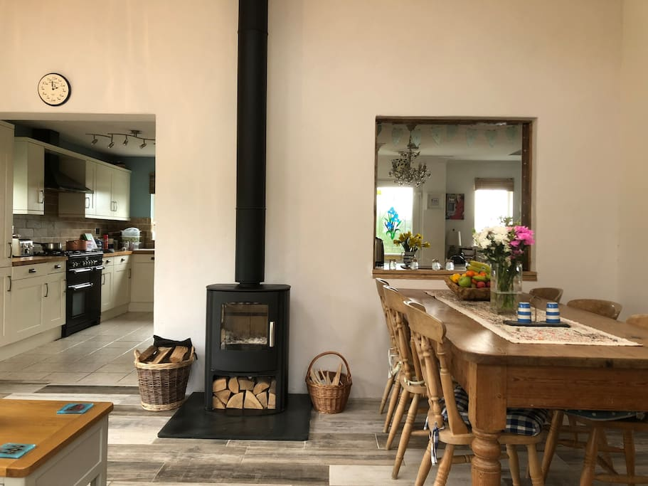Dining and family room with log burner