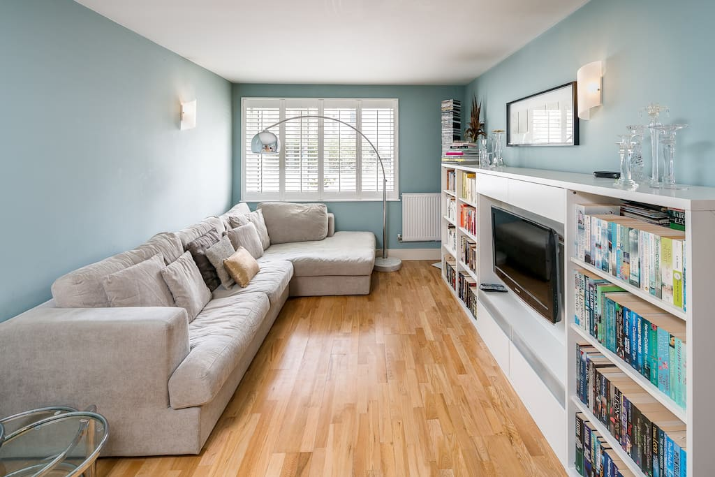 Large light living area with sofa bed