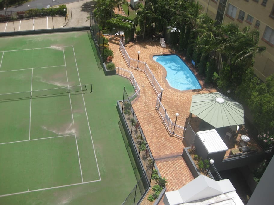 On site tennis court and pool