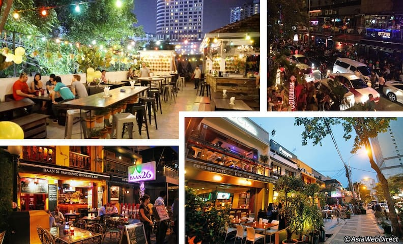 10 mins walking distance to the famous night life district
