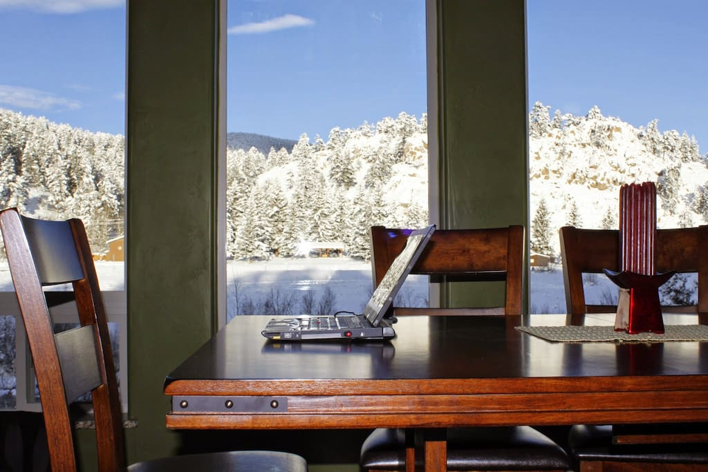 Seasons change, but the view from the dining room remains stunning! Wish my office had such a view!
