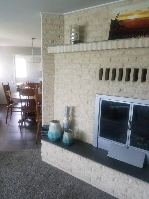 Living room into dining room and kitchen