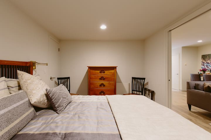 Enjoy a great nights' sleep in the quiet bedroom;  great heater, reading lights, sound of waves in the background