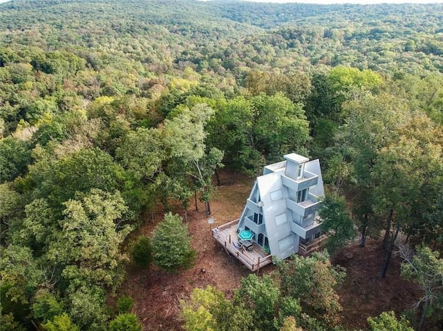 Modern  A Frame  Mountain Top Cabin of The Ozarks