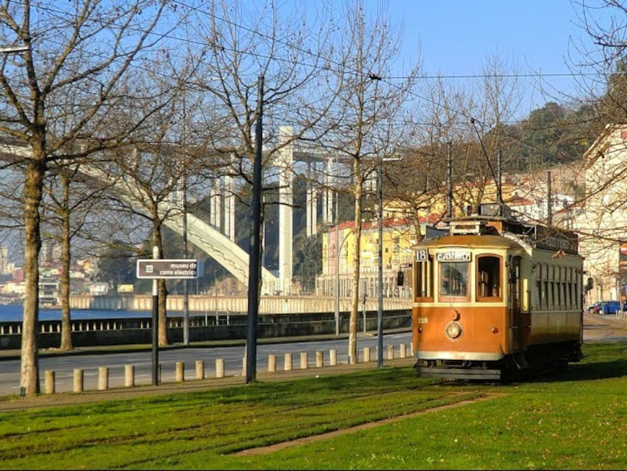 the tram nearby the apartment