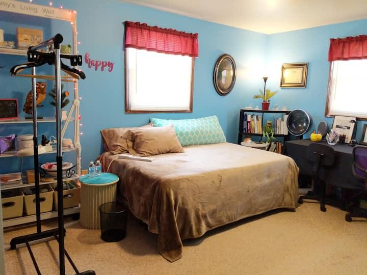 Comfortable, clean bedroom.
