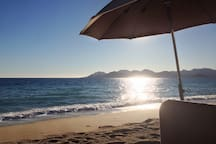 beach in Cannes with view on the massif de l'esterel