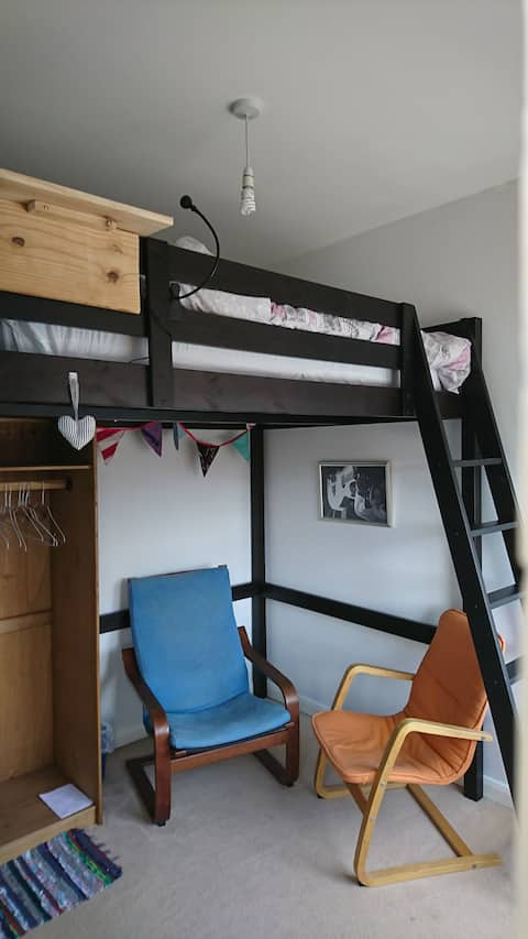 Double cabin bed in old factory building