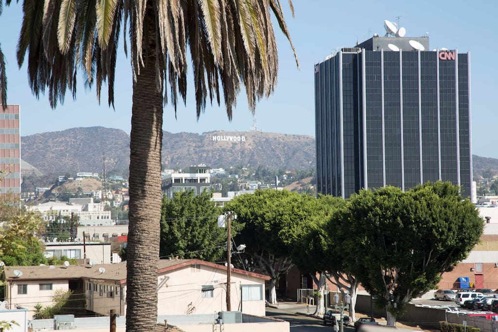 The Iconic Hollywood Sign... a clear view from our rooftop balcony