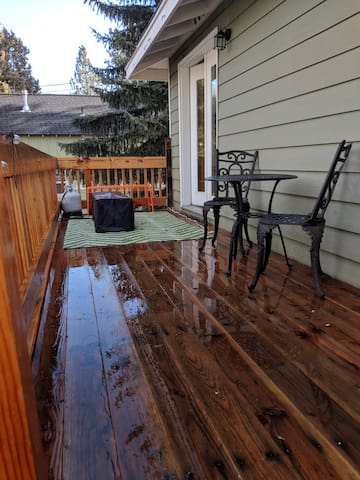 Large private balcony with gas fire pit