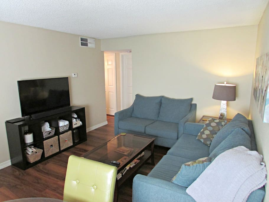 """Living room with 50"""" HDTV. The TV has an antennae, and we also provide Netflix, Hulu, and Sling TV"""