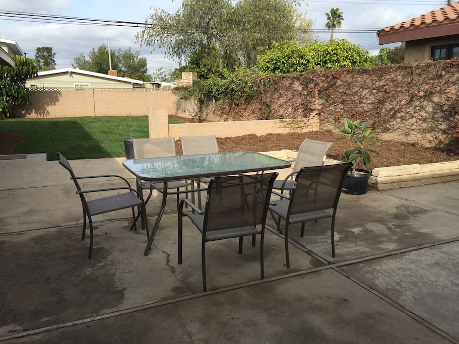 Large furnished patio with webber grill and extensive gardens -fully enclosed and private