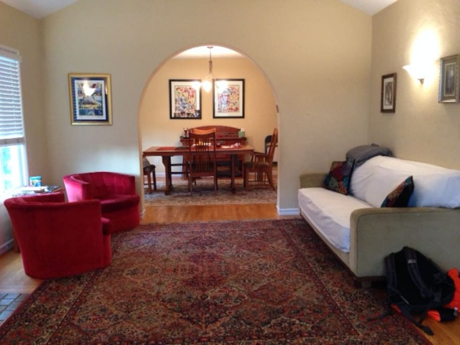 Comfortable living room, leading to separate dining room