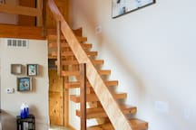 Staircase designed by builder, who is a third-generation carpenter.