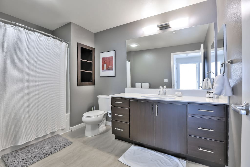 Master Bathroom with Rain Shower + Tub (Essentials Provided)