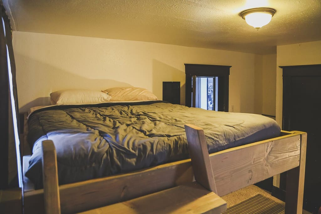 Custom crafted queen-sized bunk beds, sleeping up to 4, bring out the kid inside us all