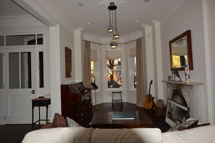 large bay window in living room