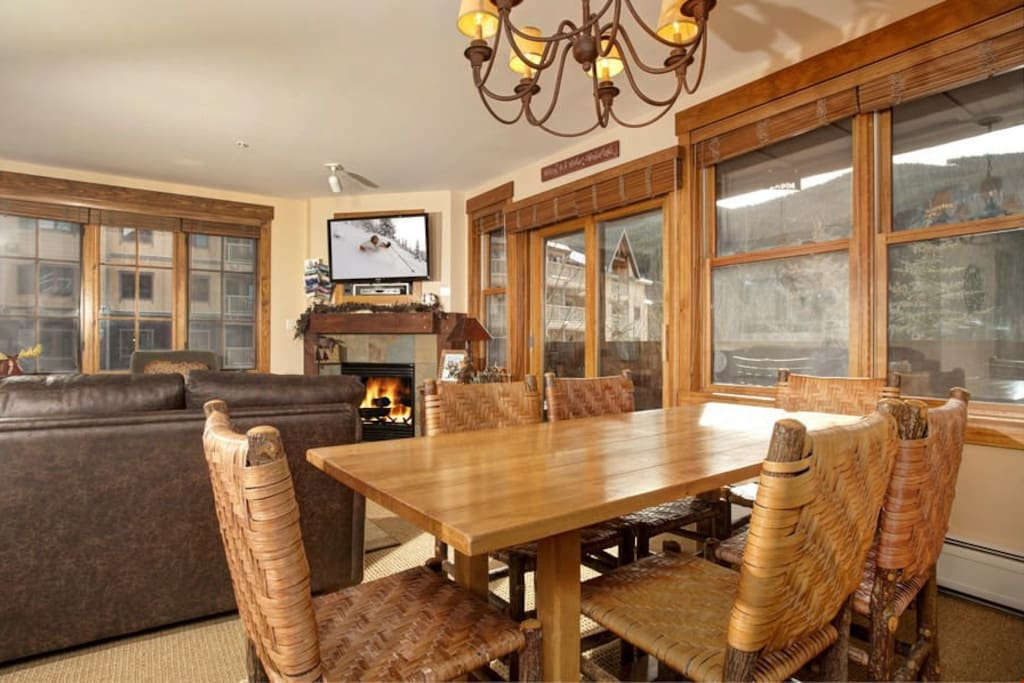 Entertain friends and family at the large dining table