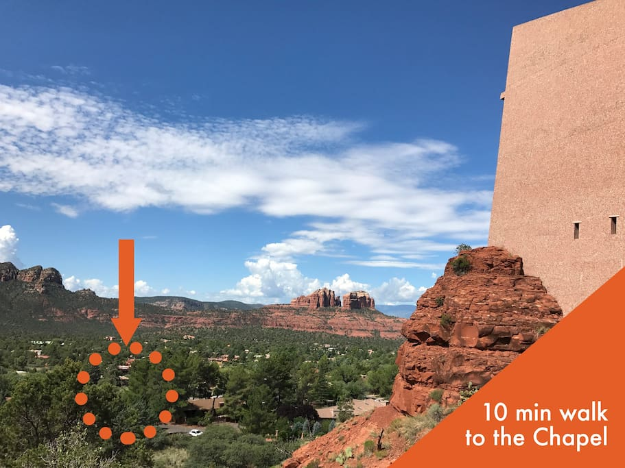 Fox Den is only a 10 minute walk to one of the most popular tourist destinations in Sedona - the Chapel of the Holy Cross.